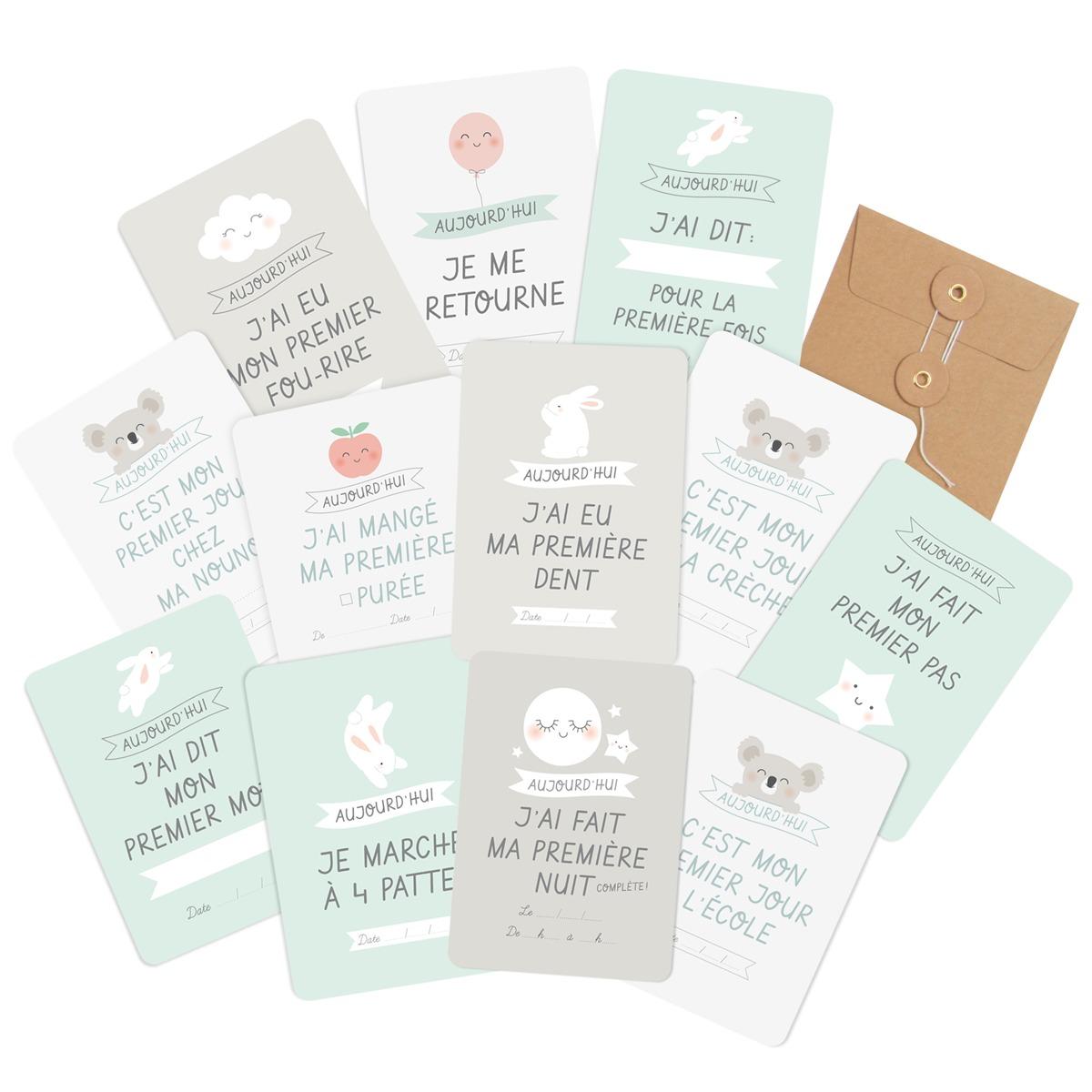 13 Cartes les étapes de bébé des Premières fois