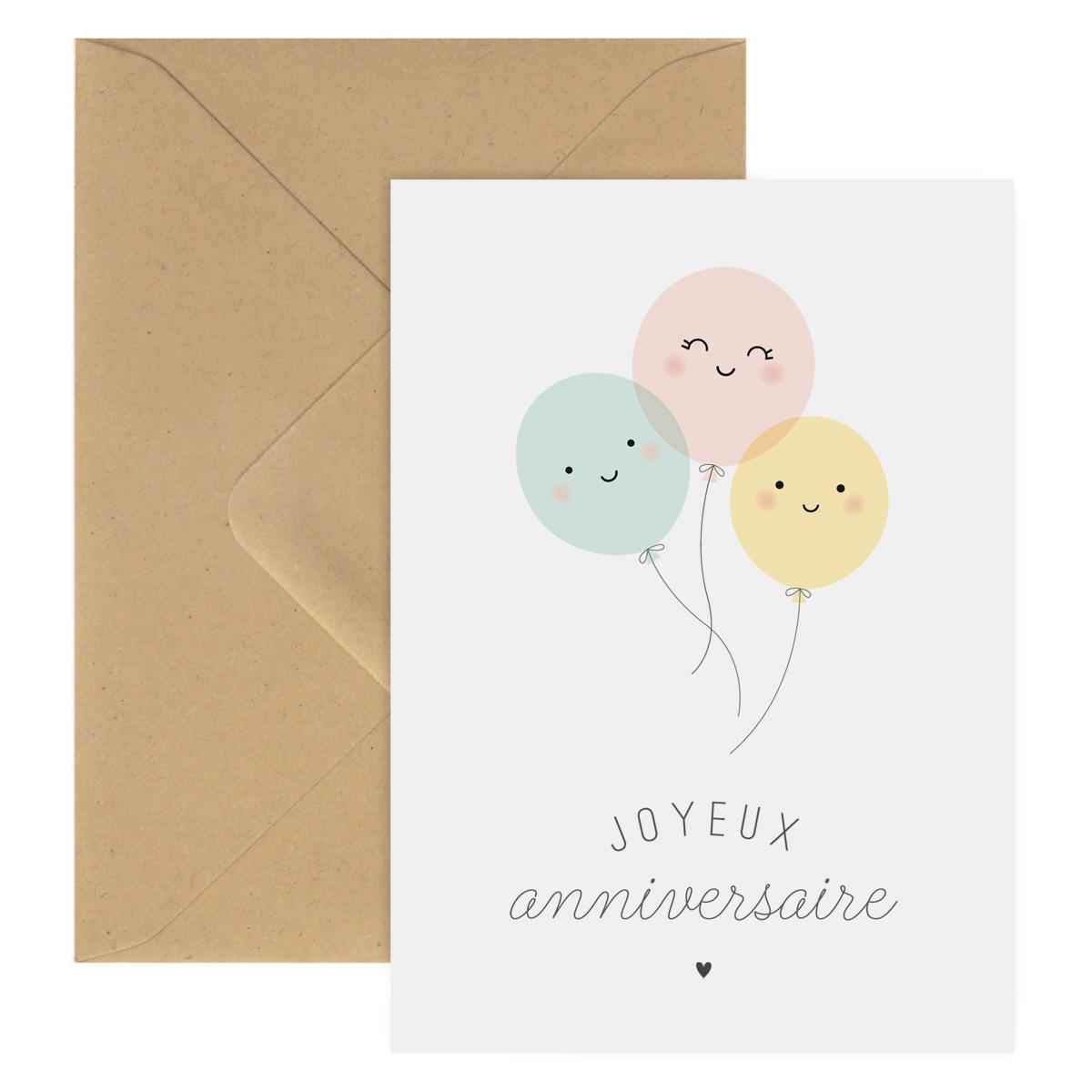 Carte Double Joyeux Anniversaire Ballons Zü Boutique