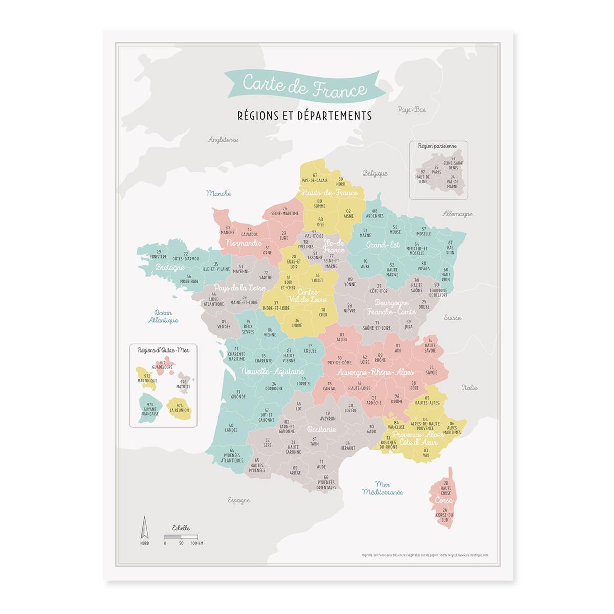 Affiche Carte De France Nouvelles Regions Francaises Imprimee En France
