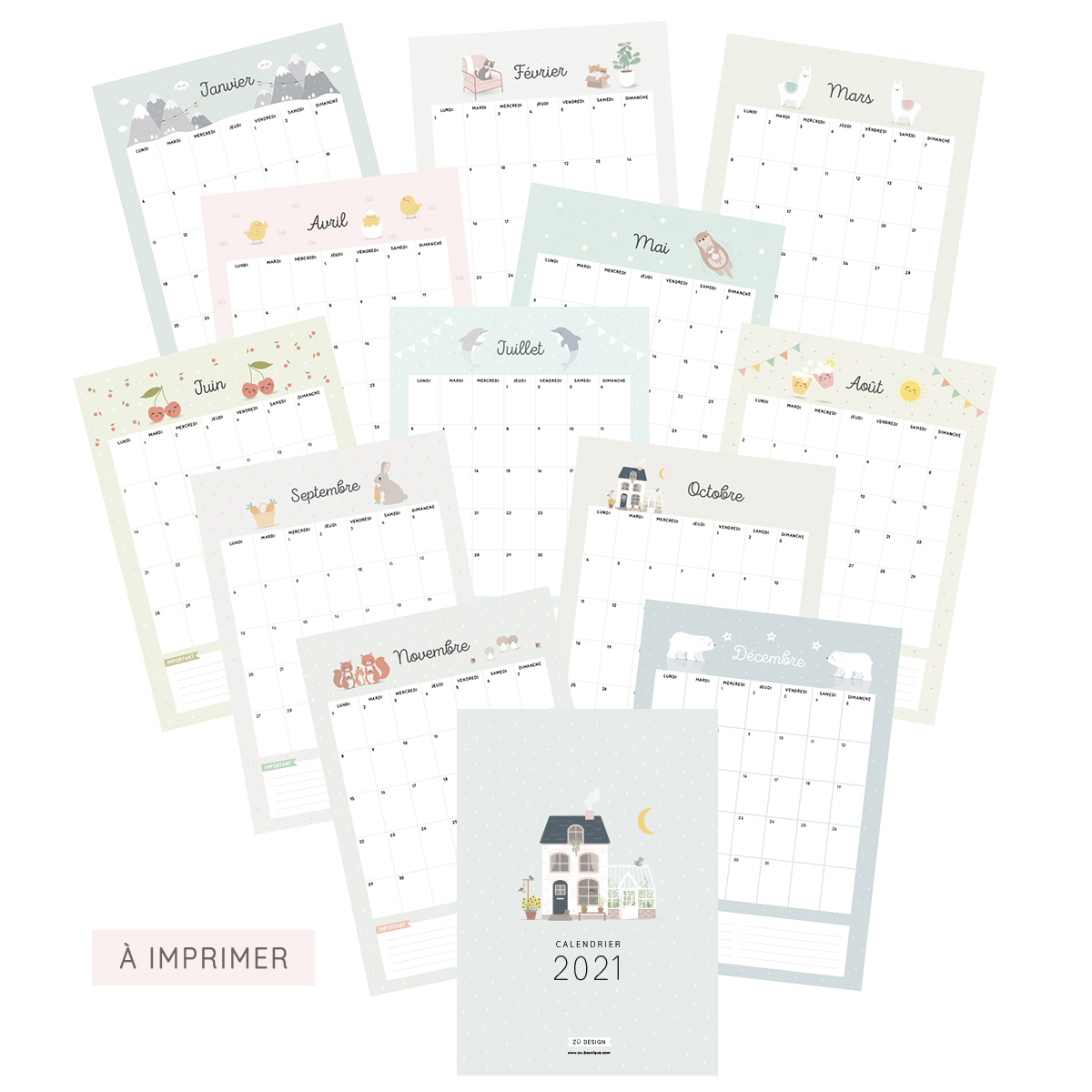 Calendrier mensuel 2021 à imprimer au format A4 Zü boutique
