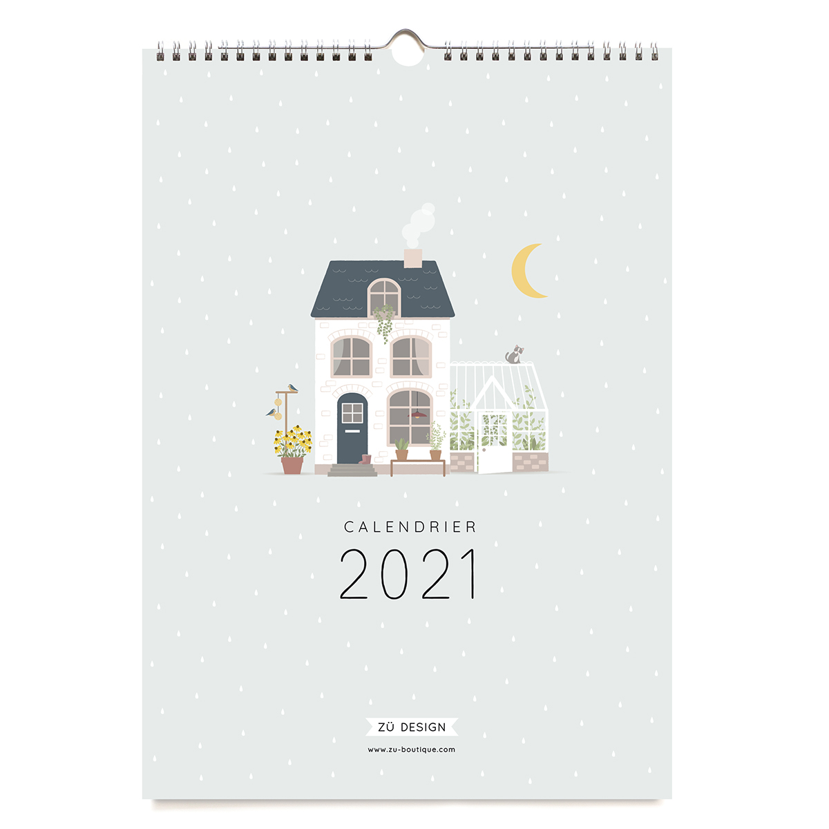 Wall calendar 2021 Zü in pastel colours printed in Europe
